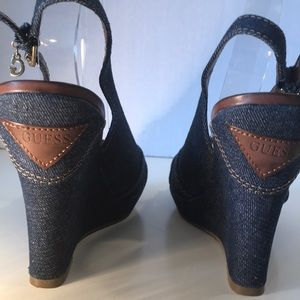 "Guess Denim & Leather Wedges ""Like New"" Size 8"